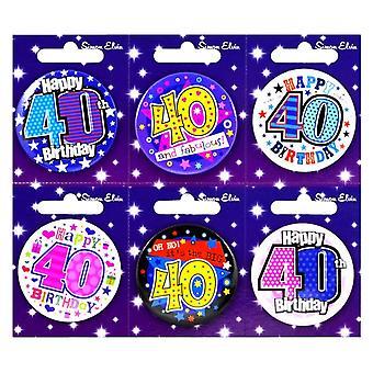 Simon Elvin 40th födelsedag liten bricka (6 Pack)