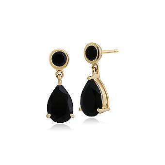 Classic Pear & Round Black Onyx Drop Earrings in 9ct Yellow Gold 186E0148089
