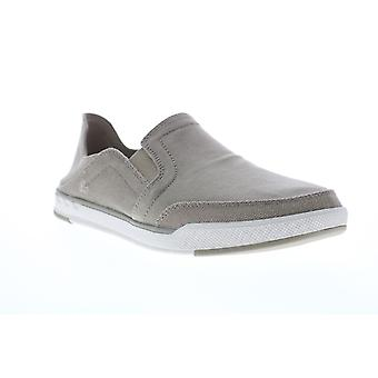 Clarks Step Isle Row  Mens Gray Canvas Slip On Casual Loafers Shoes