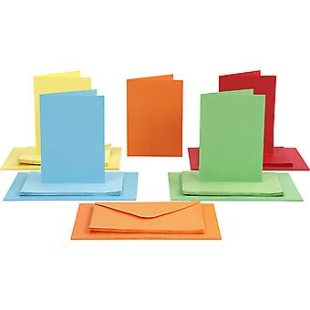 50 Bright Mixed Colours A6 Cards and Envelopes for Card Making Crafts