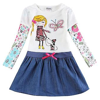 Long Sleeve Girls Dress , Girl And Dog, Infant