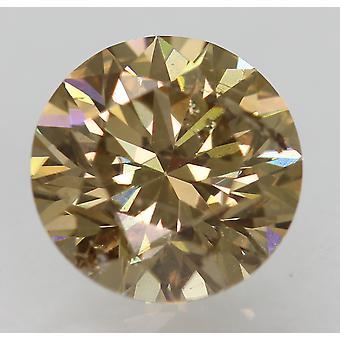 Cert 1.10 Carat Yel Brown VS2 Round Brilliant Natural Loose Diamond 6.51mm 3EX