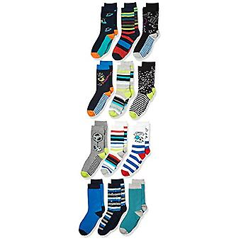 Brand - Spotted Zebra Kids' 12-Pack Crew Socks, Dinos in Space, X-Smal...