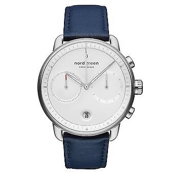 Nordgreen PI42SILENAXX White Dial Blue Leather Strap Wristwatch