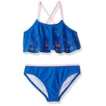 Rivstar Big Girls' Butterfly Laser Cut Flounce Bikini 2PC, Blue, 16