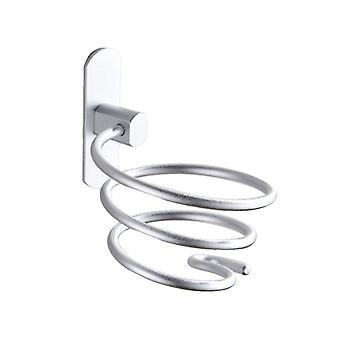Wall Mount Aluminum Hair Dryer Hanging Rack Silver