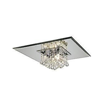 Inspiriert Diyas - Starda - Flush Decke Platz 8 Licht G9 poliert Chrom, Kristall