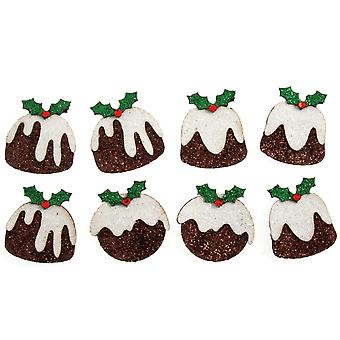 8 Glitter 3cm Christmas Pudding Self Adhesive Paper Stickers voor Papercrafts