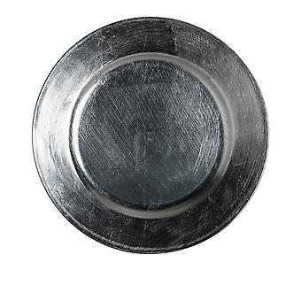 Argon Geschirr einzelne Runde Ladegerät Platte - gebürstet Metallic Finish - 33cm - Gunmetal grau