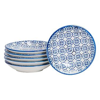 Nicola Spring 6 Piece Hand-Printed Sauce Dish Set - Small Japanese Style Porcelain Salsa Dipping Plates - Navy - 10cm