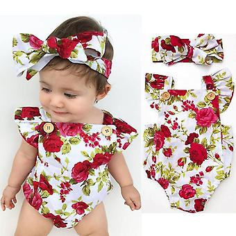 Cute Floral Romper Baby Clothes Jumpsuit +headband 0-24m Age Infant Toddler