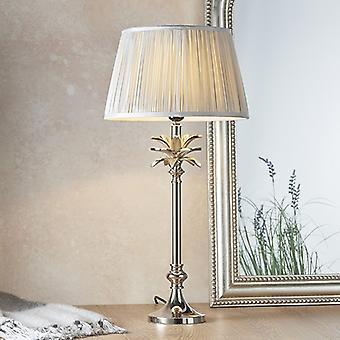 Endon Beleuchtung Blatt & Freya - Tischlampe poliert Nickel Platte & Silber Seide 1 Licht IP20 - E27