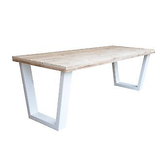 Wood4you - Esstisch New York Gerüstholz Weiß 200Lx78Hx90D cm
