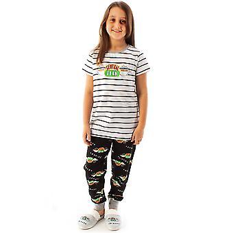 Friends Central Perk Pyjamas For Girls | Children & Teens F.R.I.E.N.D.S Cafe Striped Black & White T-Shirt & Logo Loungepants PJ Set | Friends TV Show Gifts