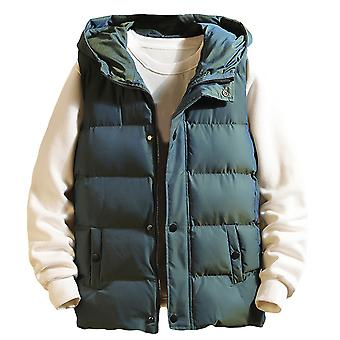 YANGFAN Mens Hooded Waistcoat Vest Solid Color Zipper Button Quilted Gilet