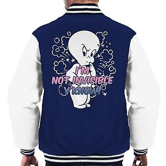 Casper The Friendly Ghost Cross I'm Not Invisible Y'Know Men's Varsity Jacket