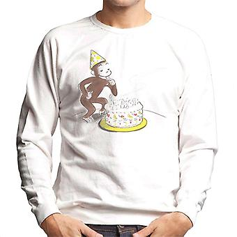 Curieux George Eating Birthday Cake Men-apos;s Sweatshirt