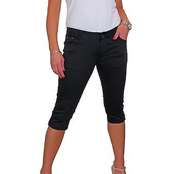 Women's Skinny 3/4 Length Summer Capri Stretch Trouser Chino Sheen 8-16
