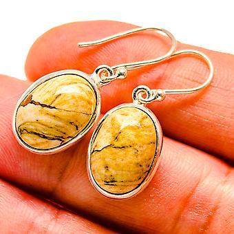 """Picture Jasper Earrings 1 1/4"""" (925 Sterling Silver)  - Handmade Boho Vintage Jewelry EARR408048"""