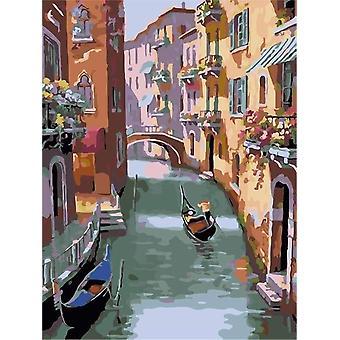 Frameless City Landscape Diy Peinture à l'huile numérique par nombres - Europe Résumé