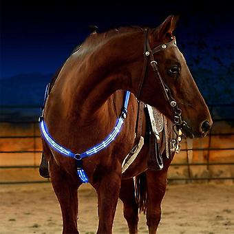 Dual Led Horse Breastplate Nylon Webbing Night-visible Horse Racing Equestrian