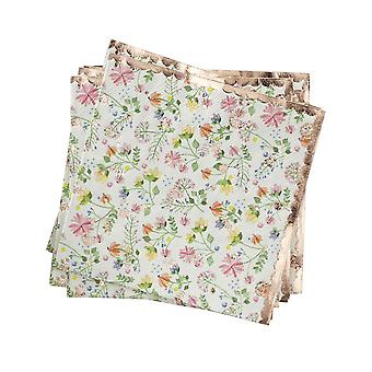 Rose Gold Floral Paper Party Napkins x 16 Ditsy Floral Birthday Tea Party