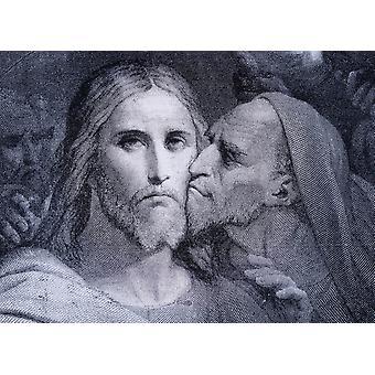 Il bacio Giuda Iscariota baci Gesù Cristo nel giardino del Getsemani da El Mundo Ilustrado pubblicato Barcellona Circa 1880 PosterPrint