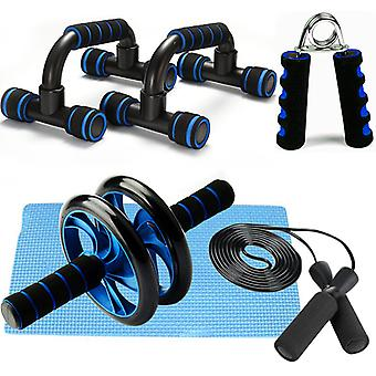 Fitness Exercise Set 5 Pieces Jump Rope Hand Gripper Abdominal Wheel Roll Push-Up Bar Knee Pad Daily Home Workout Equipment Set