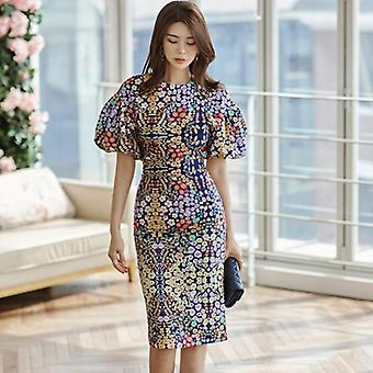 Queen Flower Print Suits, Women Summer O-neck Shirt Top & High Waist Split