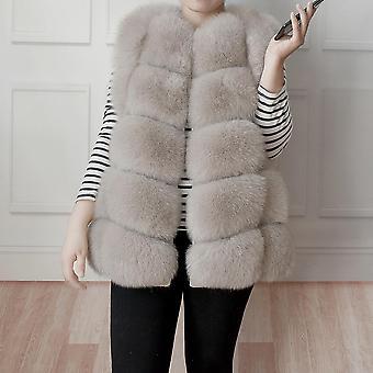 Women's معطف الفرو الحقيقي الشتوي، سترة طبيعية، داكن فاخر دافئ بدون أكمام