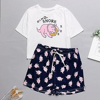 Süße Cartoon Print kurze T-shirts & Shorts Set Pyjamas