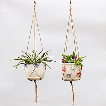 Hand Knitting Hemp Rope Flower Pots Hanging Rope Basket Braided Hanger Plant