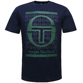 Sergio Tacchini Fiume Mens T-Shirt Graphic Branded Top Navy 38726 218