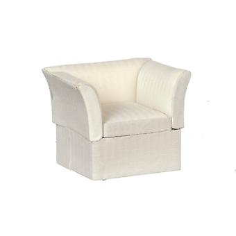 Dolls House Cream Art Deco Armchair Miniature Lounge Living Room Furniture