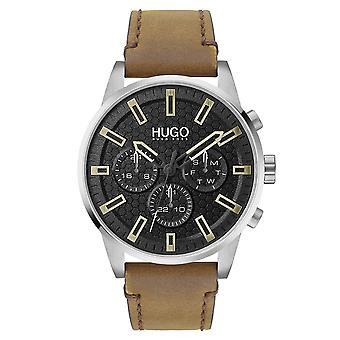 HUGO Hugo 1530150 Procure relógio marrom e preto mens