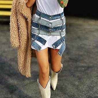 Patchwork Hit Color Skirt, High Waist, Asymmetric Large Size, Mini