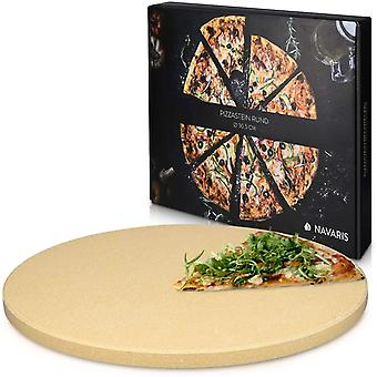 Navaris XL Pizza Stone for Baking - Cordierite Pizza Stone Plate for BBQ Grill Oven