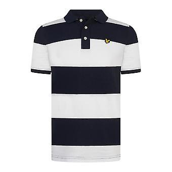 Lyle & scott boys white/navy wide stripe polo lsc0781