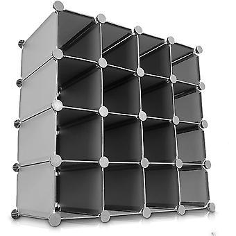 LIVIVO Multi-Purpose 16 Section Interlocking Cube Shoe Rack Organiser