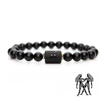 Schwarzer Stein Perlen 12 Konstellation paar Armband
