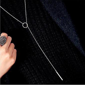 Circle Strip Long Chain Choker Necklace