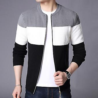 Men's Casual Cardigan Sweater, Long Sleeve Patchwork, Knitted Outwear Coat