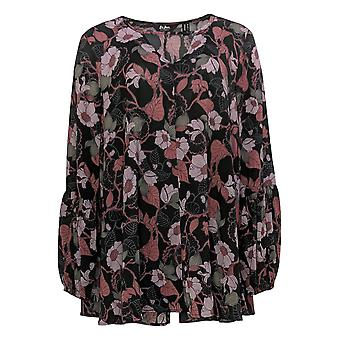 Du Jour Women's Top Floral Printed Woven Tunic Balloon Sleeves Black A342336