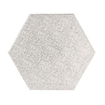 9&(228mm) Cake Board Hexagonal Silver Fern - singel