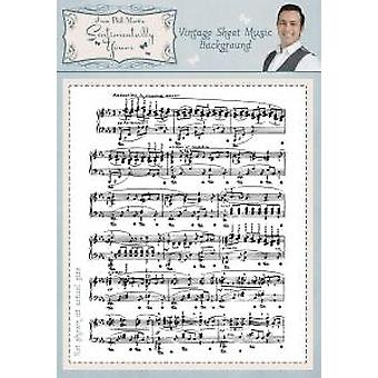 Sentimentally Yours Vintage Sheet Music A6 Background Stamp