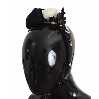 Diadem Headband Τιάρα Λευκό Τριαντάφυλλο Κρύσταλλο Μαλλιά Χρυσό