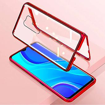 Stuff Certified® Xiaomi Poco X3 Pro Magnetic 360 ° Case with Tempered Glass - Full Body Cover Case + Screen Protector Red