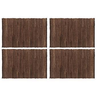 vidaXL placemats 4 pcs. شيندي يوني براون 30 × 45 سم القطن
