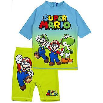 Erkekler | için Süper Mario Mayo Mavi Yeşil İki Parça Üst ve Şort Mayo | Çocuk Oyuncu UV50+ Güneş Güvenli Yüzme Kostümü