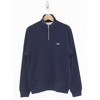Lacoste Zip Stand Up Collar Sweat - Navy
